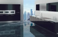 Black & white kitchens : Glamorous Stunning Contemporary Bright Black And White Kitchen Design Ideas With Hangging Kichen Table With Glamour Tecture Granite Floor