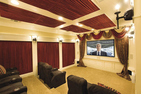 Home theatre design ideas : Glamour Oldfashion Home Theater Model Design With Comfortable Brown Sofa With Stunning Wall Light Covering Buy Wool Curtain Stone Floor
