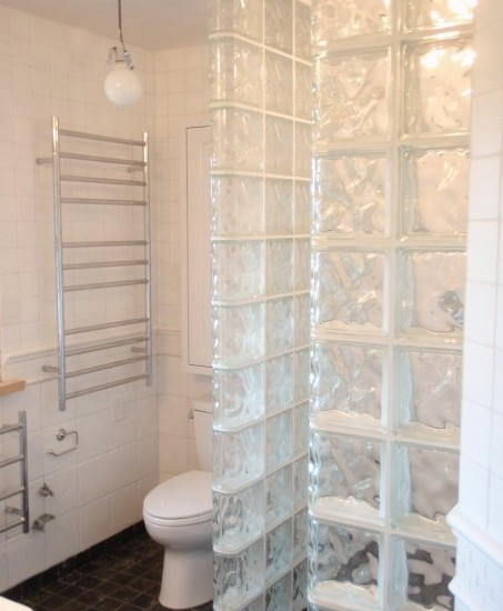 Interesting Photos Of Glass Block Showers : Glass Block Look All The Way To The Floor With Toilet View At Traditional Bathroom Bigger Look At Glass Block Curbless Shower