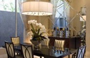 Interesting Small Beveled Mirror Tiles : Glossy Dining Room Table And Chairs With Tiled Mirror Beveled Mirror Style