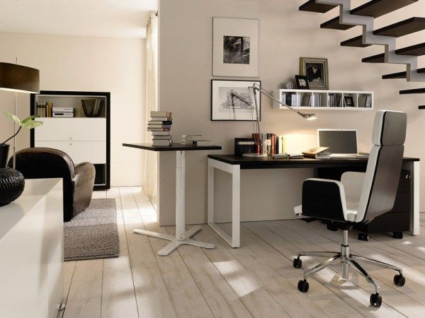 Captivating Modern Home Office Design Ideas : Good Looking Modern Home Office Under Stairs Design With Writing Deskchair Bookshelf Wall Decor Cabinet Sofa Rug Lamps And Wooden Flooring Ideas