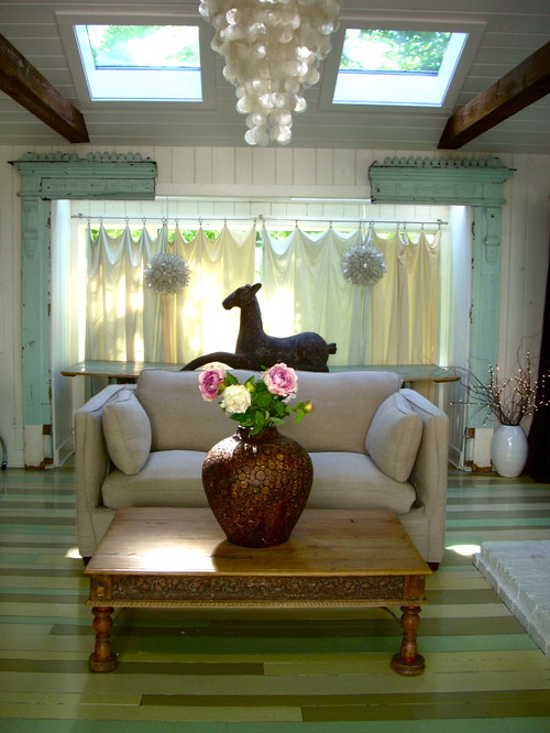 Awesome Reclaimed Wood Wall Design Ideas: Gorgeous And Simple Green Scheme Reclaimed Wood Flooring Design In Eclectic Family Room Decor With Small Sofa And Flower Vase Above Table With Statue And Window Curtain Ideas