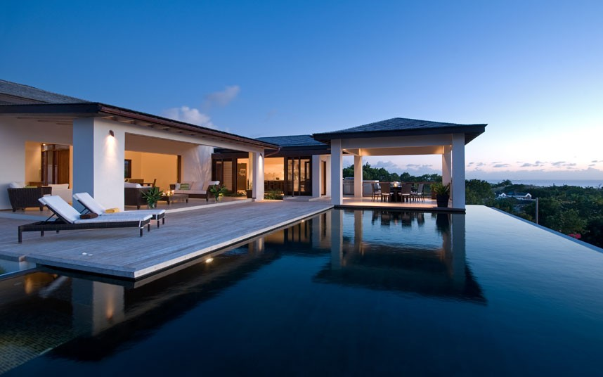 Calming Exquisite Pool In A Modern House Overlooking The Sea: Gorgeous Ayelsford Barbados Pool Overlooking Ocean Of Modern House Overlooking The Sea