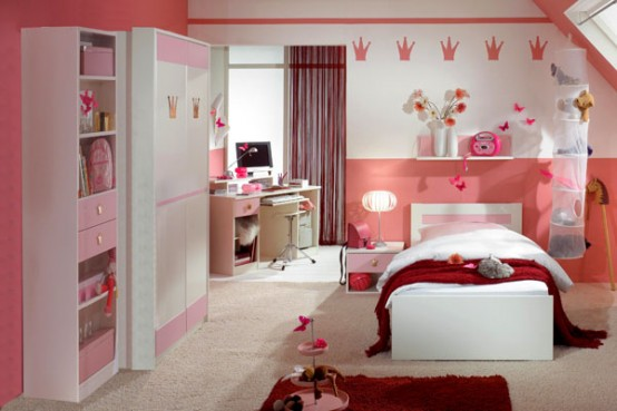 Modern Ideas For Pink Girls Bedrooms: Gorgeous Classic Pink Girl Bedroom With Contemporary Design With Pink Cabinets