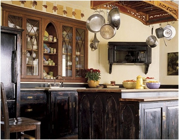 Unique & Unusual Kitchen Cabinets Styles Design : Gorgeous Gothic Antique Style Kitchen Design With Stained Kitchen Cabinet And Arched Glass Front Cabinets Ideas