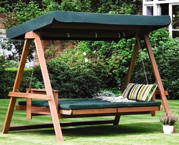 Astonishing Hanging Bed You Love To Use In Your Garden : Gorgeous Green Swing Bed In The Backyard With Splendid Choice Of Material For Flooring And Shade
