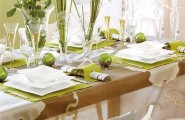 Christmas Decorations Ideas: Dinner Table Decorations : Gorgeous Holiday Wooden Dining Table Decoration With Modern White Dinner Set On Light Green Tablecloth And Wine Glass And Light Pink Rose Flower On Glass Vase And Candle Ideas