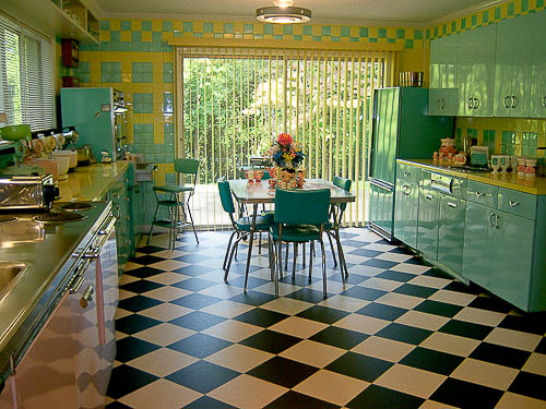 Kitchen Tile Flooring Designs Ideas: Gorgeous Kitchen Black White Checkerboard Tile Flooring Design With Green Color Cabinetry Table Chairs Tile Wall Ideas