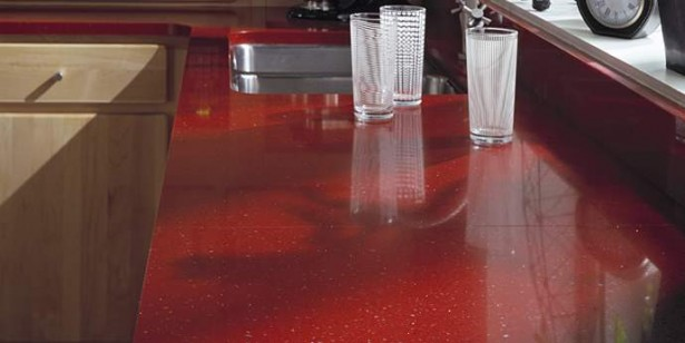 Dupont's Best Value Countertops Design: Gorgeous Kitchen Countertop Use Indus Red Dupont Contertop With Glass Sink And Faucet Ideas ~ stevenwardhair.com Cabinets Inspiration