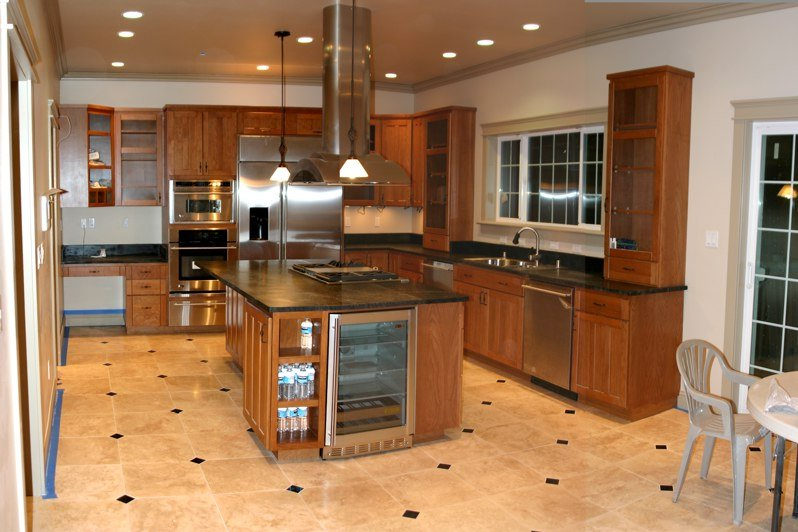... Kitchen Tile Flooring Designs Ideas : Gorgeous Kitchen Tile Flooring  Design With Wooden Cabinet Marble Countertop ...