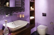 Awesome Bathroom Design For Small Apartment : Gorgeous Lavender Color Small Apartment Bathroom Design With Vessel Sink On Wooden Wall Shelf And Built In Wooden Towel Cabinet With Mirror Toilet And Tile Flooring Ideas
