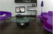 All Kind Of Sofas For Small Living Room Ideas : Gorgeous Purple Futuristic Sofa Design With Round Glass Table And Shelves And Wooden Flooring In Small Apartment Living Room Interior Decoration