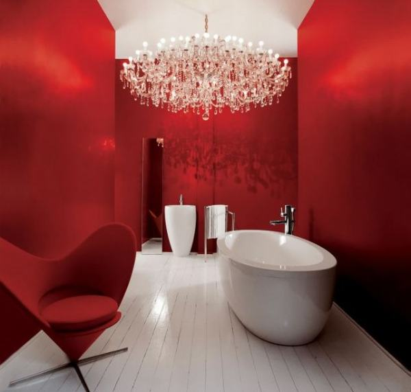 Beautiful and Relaxing Bathroom Design Ideas: Gorgeous Red Color Bathroom Interior Design With Chair Bathtub Sink Towel Hanger Faucet Chandelier Red Wall Wooden Flooring Ideas