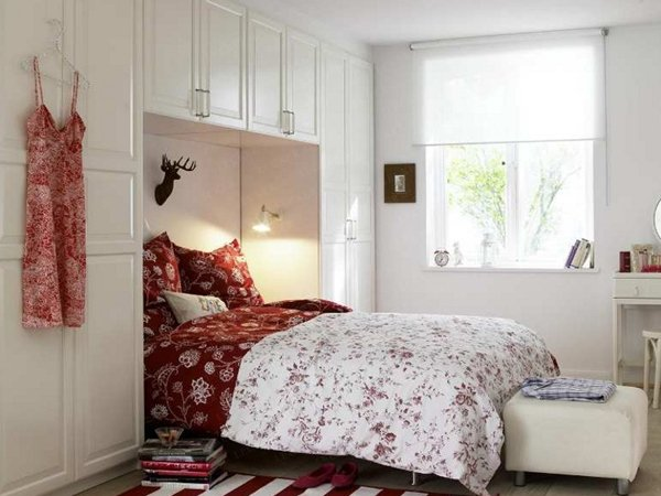Excellent Ideas To Make Small Bedroom Look Bigger: Gorgeous Small Bedroom Design Wih Closet Integrated Bed And Quilt Rug Wooden Flooring Ideas ~ stevenwardhair.com Bed Ideas Inspiration