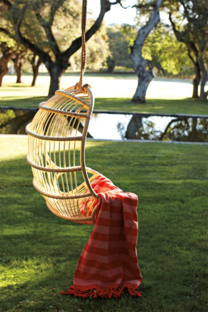 Unbelievably Relaxing Piece Of Furniture Hanging Chair : Gorgeous Traditional Simple Outdoor Hanging Chair Curve Shaped Made Of Rattan With Red Stripe Blanket As Accent