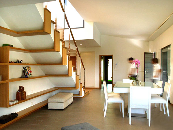 Utilizing Under the Stairs Space For Effective And Ergonomic Use of Storage : Gorgeous Utilizing Under The Stairs Space For Effective And Ergonomic Use Of Storage With Staircase With Sleek And Flowing Shelves Underneath