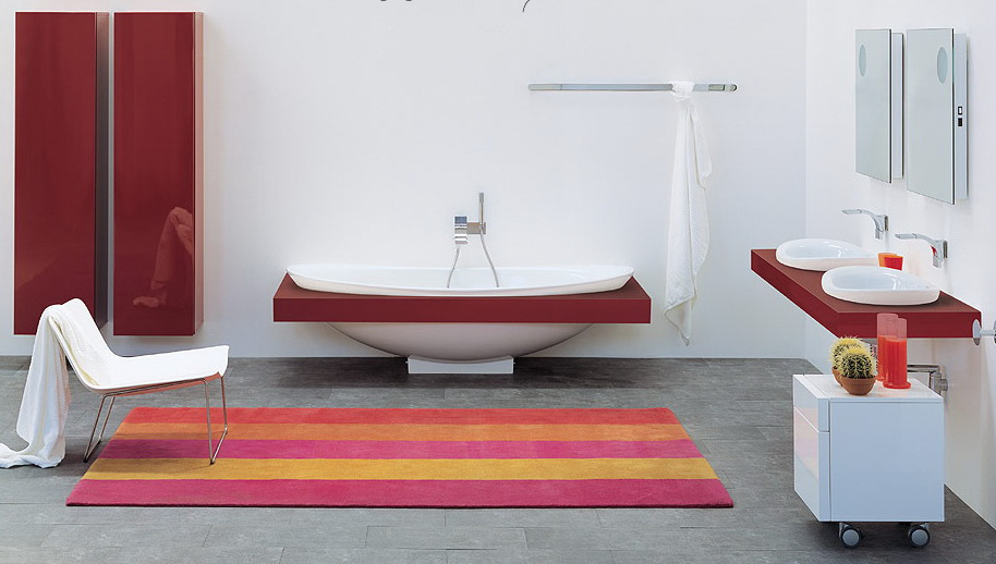Modern and Unique Bathrooms Design from Flaminia: Gorgeous White Modern Graceful Bathroom Design Interior With Marron White Bathroom Furniture Vanities With White Chair On Colorful Stripe Mat On Gray Slate Tile Flooring By Flaminia