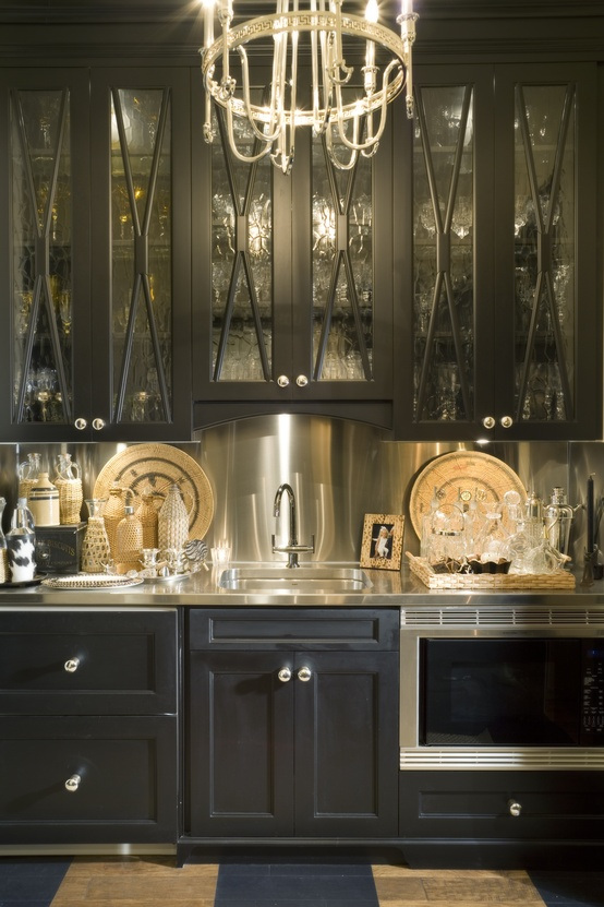 Stunning Sleek Black Kitchen Room Design Ideas: Gothic Dark Black Kitchen Room Design Ideas Fancy Elegant Built In Black Wood Kitchens Nice Cupboard Chrome Backsplash ~ stevenwardhair.com Design & Decorating Inspiration