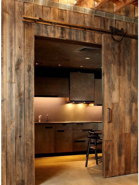 Building The Sliding Barn Door : Gramercy Penthouse Rustic Kitchen Real Sliding Barn Door