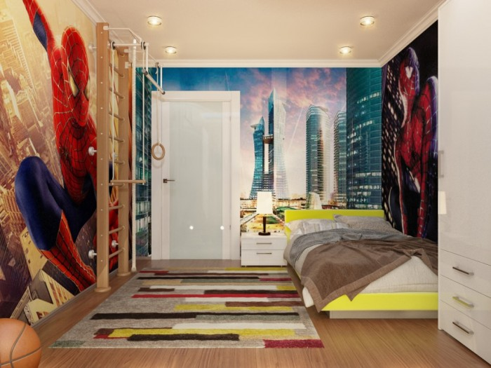 Innovative Boys Room Decoration with Unique Ideas : Great Bold Boys Room Designs Ideas Spiderman Theme Interior Decor Astonishing Wooden Flooring Design