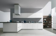Futuristic Italian Kitchen With an Additional Modern Touch : Great Contemporary Styles Italian Kitchen Design With White Cabinets White Chimney White Floor Wooden Shelves