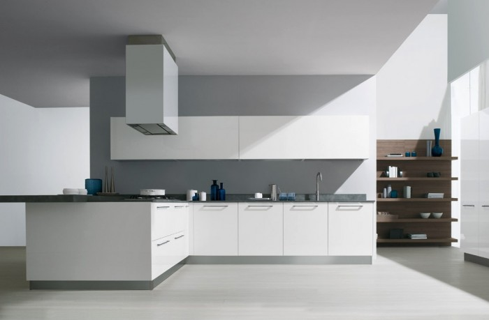 Futuristic Italian Kitchen With an Additional Modern Touch: Great Contemporary Styles Italian Kitchen Design With White Cabinets White Chimney White Floor Wooden Shelves