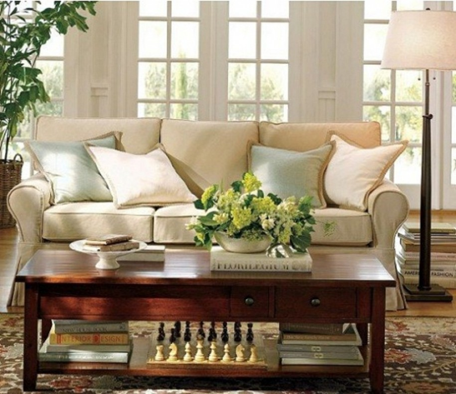 Comfortable Living Room Ideas for Modern Design : Great Living Room And Stylish With These Chic Living Room Design With White Sofas White Cushions White Standing Lamp Comfortable Living Room Ideas