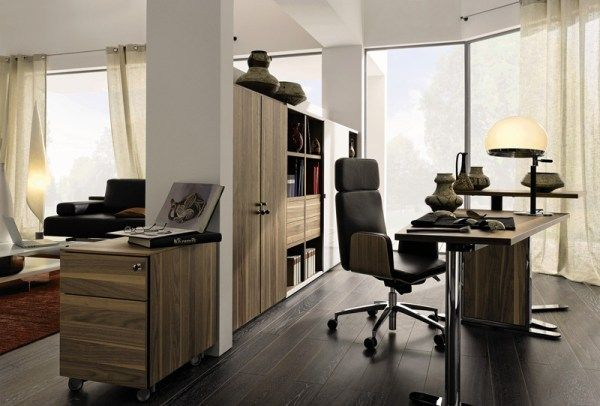 Captivating Modern Home Office Design Ideas : Great Modern Home Office Interior Design With Wooden Cabinet As Room Divider With Living Room Ideas And Desk Swivel Chair Jar Glass Wall Window Curtain And Wooden Flooring Ideas