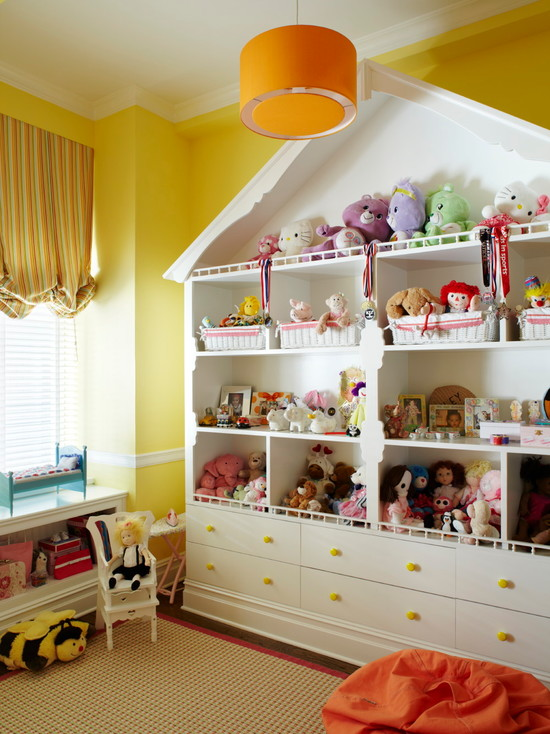 Amazing Toy Storage Cabinets: Great Toy Storage Idea For Dolls And Stuffed Animals At Traditional Kids Room