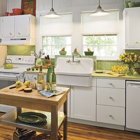 Charming Contemporary Kitchen Design : Green Country Kitchen Themed With Cute Cutter On Shelves With A Framed Window And Beautiful Elegant Pine Table Kitchen With Hangging White Cabinets Using Parquet Floor
