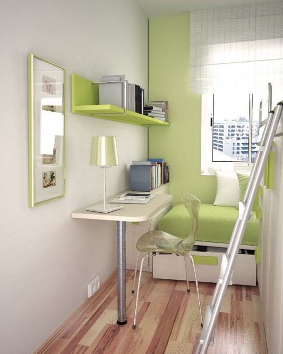 Modest Thoughtful Teenage Bedroom Design: Green Themed Intresting Small Teen Room Layout Bunk Bed With Staircase With Green Sofa And Hanging Bookselves And Study Table With Bay Window