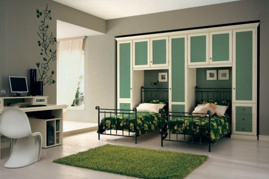 Classic Touchs Girls Room Design Ideas: Green Themed Room Decoration Classic Girls Room Design With Double Beds With Green Frug Nd Built In Cabinets With Study Table And Chair