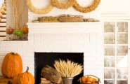 Halloween Mantel Decorating Ideas for Spooky Party : Halloween Decorating Ideas Bright Three Hay Wreath Trick Or Treat Writing On A Wood On The Mantel Two Large Pumpkins Orange In A Wooden Bucket Decoration