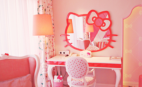 Pink and green girls bedroom ideas : Hello Kitty Bedroom With Mirror Pink Sofa