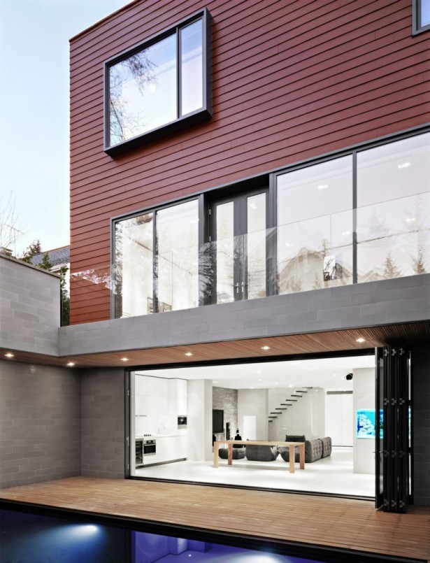 Interesting Decorated House Using Amazing White Color And Minimalist Decoration: Hidden Lamps Laminate Floor Sofa Larger Glasses Wall Outdoor Pool White Kitchen Cabinet1 ~ stevenwardhair.com Minimalist Home Design Inspiration