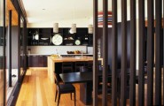 Terrific Woodhouse Concept Design That Can Produce All You Need In House : High Quality Modern Wooden House Design Wiith Simple Black Dining Table And Chairs Wood House Interior And Inspiring Wood Room Divider