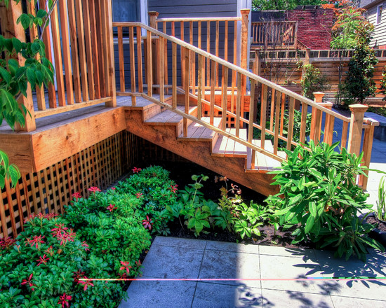 Adding Lattice to The Deck Home : Historic Home Portland Landscaping Traditional Deck With Lattice And Open Stairs Are Appealing Landscaping In Front Of Deck Plants Around Deck And Patio And Small Deck Beautiful