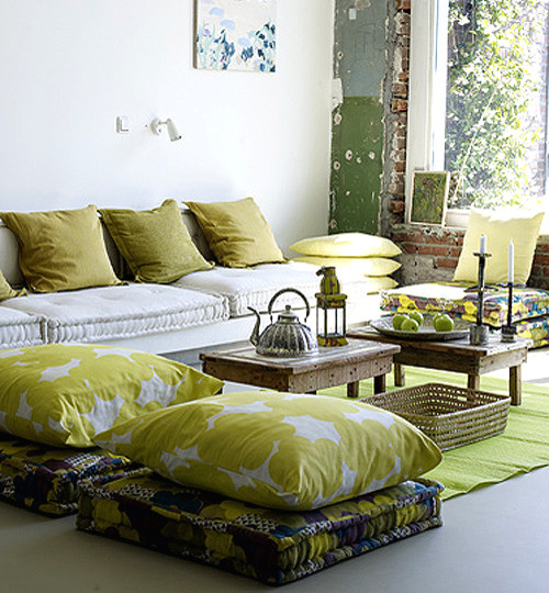 Bed Ideas: Modern Family Room Large Square Floor Cushions In Mixed ...