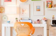 Colorful Home Office Design Ideas : Home Office With Bright Orange Accents With Colorful Wall Interior