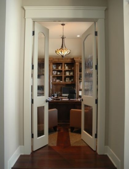 Simple Modern Door Casing Style Picture for Your Home : Home Office With Glass Door And White Wooden Casing Styles