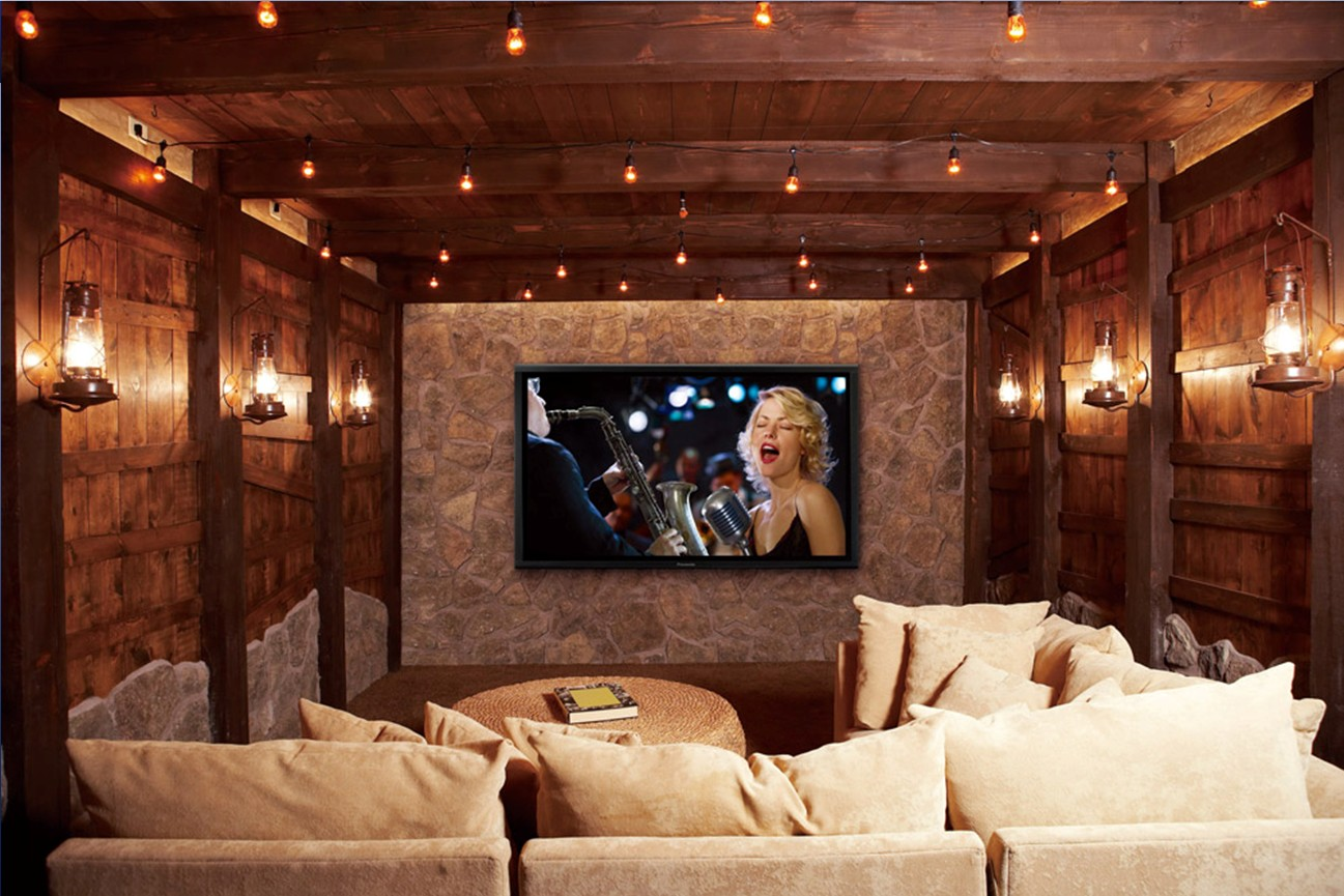 Home Trend For 2014: Green, Eco Friendly, Smaller & Smart Homes : Home Trends 2014 Cool Wooden Wall And Ceiling Green Home Theaters Interior Decoration With Sofa And Many Cushions And Inspiring Lighting Ideas