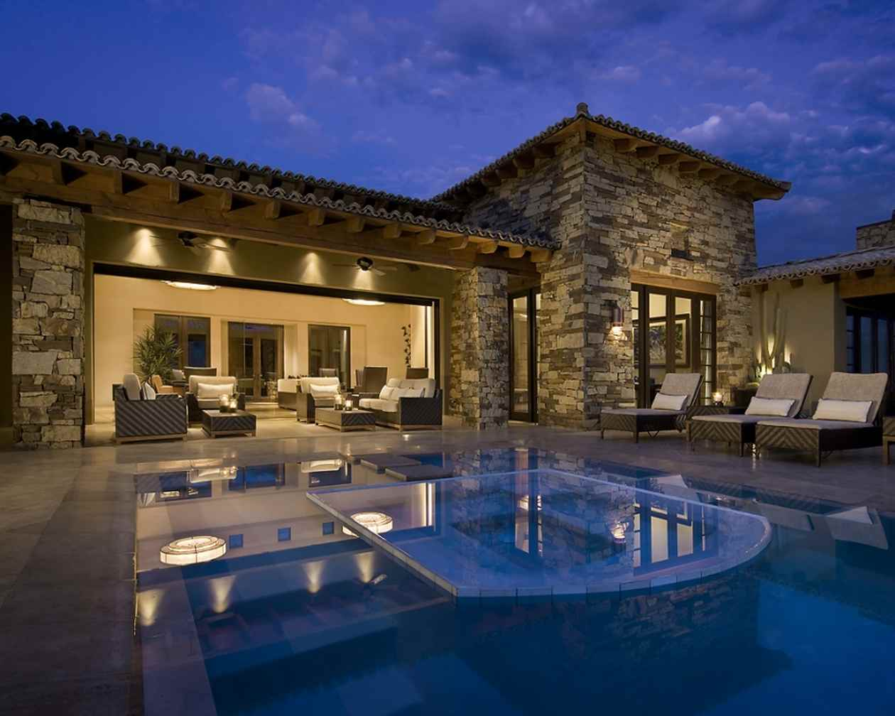 Home Trend For 2014: Green, Eco Friendly, Smaller & Smart Homes: Home Trends 2014 Green Cutting Edge Technological Luxurious And Entertaining Slate Stone Exterior Wall Small Luxury Home Design With Infinity Pool Lounge And Lighting Ideas