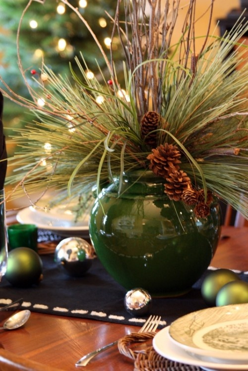 Awesome Homemade Christmas Decorations Guaranteed To BrightenThe Holiday Season : Homemade Christmas Decorations Guaranteed To Brighten The Holiday Season Votive White Candles On Small Stumps High And Low Moss Pine Cones Decoration As Center Piece