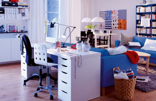 Cute home office ideas: Hoomy Bright Cool Home Office Behind The Couch With Hangging Cabinet Small Desk With Bucker Cain