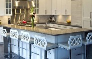 Hottest Kitchen Counter Top Materials Over Granite Or Marble : Hottest Kitchen Island Countertop Made From Recycled Glas Material With Cabinetery Bar Stool Lamps Tile Flooring Ideas