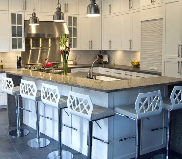 Hottest Kitchen Counter Top Materials Over Granite Or Marble: Hottest Kitchen Island Countertop Made From Recycled Glas Material With Cabinetery Bar Stool Lamps Tile Flooring Ideas