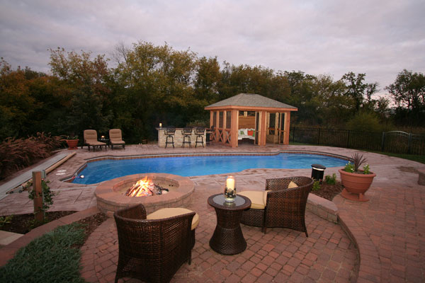 Buying A House With A Pool: House With Awesome Swiming Pool Rattan Chairs Pavilion Patio Fence Fireplace Ideas