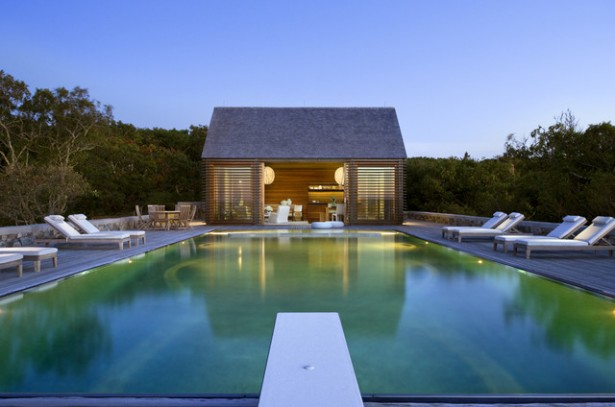 Buying A House With A Pool: House With Beach Style Pool Pavilion Lighting Seats Wooden Flooring Ideas ~ stevenwardhair.com Chairs Inspiration