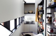 Awesome Pantry Shelves Designs : Industrial Kitchen With Narrow White And Black Pantry Shelves Designs
