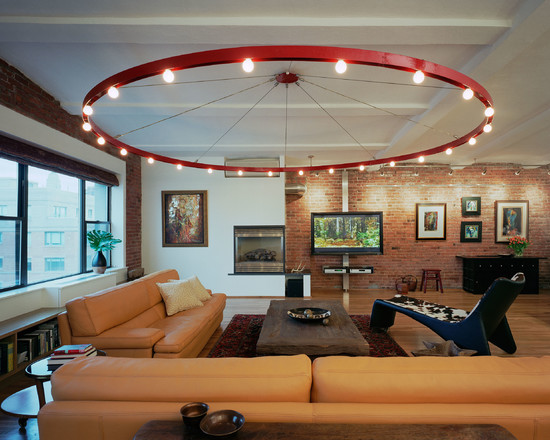 Some Interesting Pictures About Recessed Ceiling Design : Industrial Living Room With Red Light Fixture Orange Leather Sofa And Brick Wall Perfect Fun Complement To Fairly Neutral Furniture